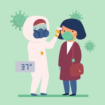 Verificar o médico de temperatura corporal em traje de proteção