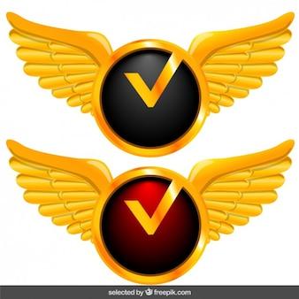 Verifique botões com asas