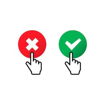 Verifique e cruze a marca com o ícone do cursor de mão. aprove ou recuse o conceito. para aplicativos e sites. vetor eps 10. isolado no fundo branco.