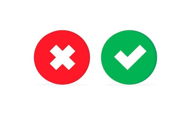 Verifique e cruze o ícone de marca. aprove ou recuse o conceito. para aplicativos e sites. vetor eps 10. isolado no fundo branco.