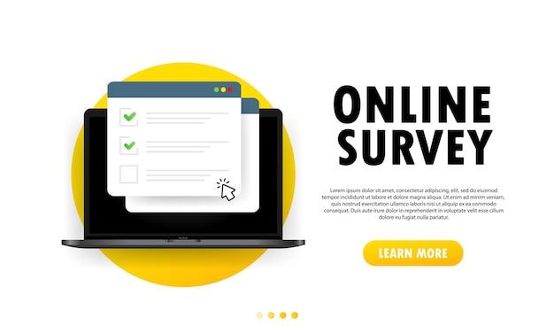 Verifique o formulário online da lista na ilustração do laptop. relatório de pesquisa de site ou internet na web, lista de verificação de exame. janela do navegador com marcas de seleção. vetor em fundo branco isolado. eps 10.
