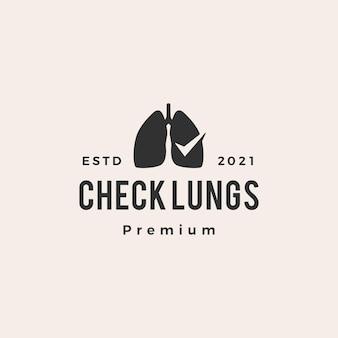 Verifique o logotipo vintage de hipster de pulmão