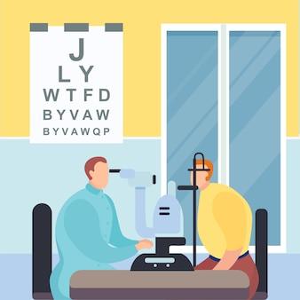 Verifique o optometrista de visão, centro médico, verificação ocular clínica pelo médico oftalmologista, ilustração do estilo dos desenhos animados.