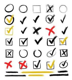 Verifique os sinais de mão desenhada. marca do doodle para itens da lista, giz de caixa de seleção.
