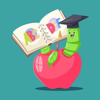 Verme de livro bonito no chapéu graduado na maçã vermelha e leitura do alfabeto.