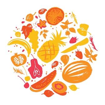 Vermelho amarelo colorido vários tipos de legumes em um círculo.