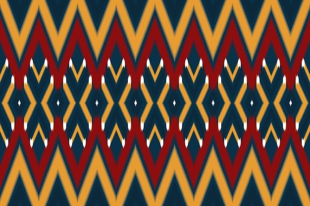 Vermelho, amarelo na marinha asiático étnico geométrico oriental ikat sem costura tradicional padrão. design para plano de fundo, tapete, pano de fundo de papel de parede, roupas, embrulho, batik, tecido. estilo de bordado. vetor