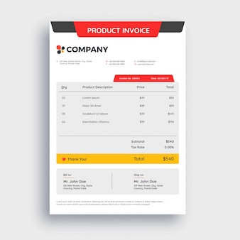 Vermelho, cinza e amarelo abstrato, projeto de modelo de fatura para sua empresa.
