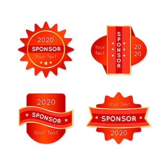 Vermelho com adesivos dourados do patrocinador