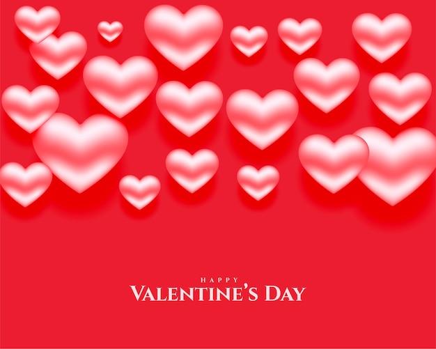 Vermelho com corações brilhantes em 3d para o dia dos namorados
