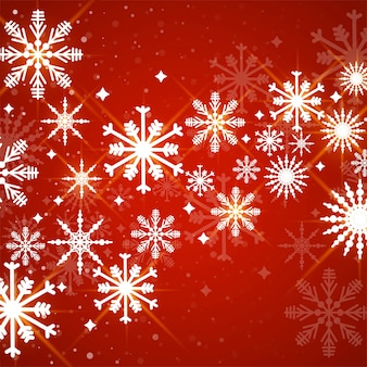 Vermelho com fundo de flocos de neve