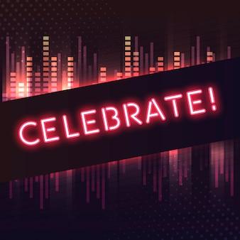 Vermelho, comemorar, néon, signboard, vetorial