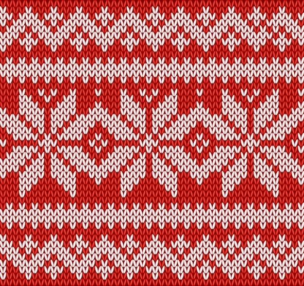 Vermelho e branco de tricô sem costura padrão com flocos de neve