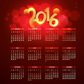 Vermelho e dourado 2016 do calendário