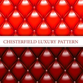 Vermelho e mogno chesterfield elegante padrão sem emenda
