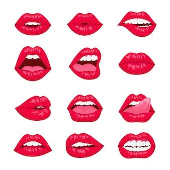 Vermelho e rosa beijando e sorrindo ícones decorativos dos lábios dos desenhos animados. lábios de mulher sexy com emoções diferentes.