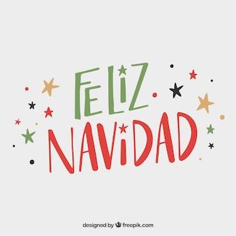 Vermelho e verde feliz navidad lettering background