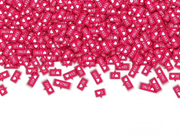 Vermelho gosta de símbolos de contador em mídias sociais - ícones de classificação de notificações com formas de coração e quantidades.