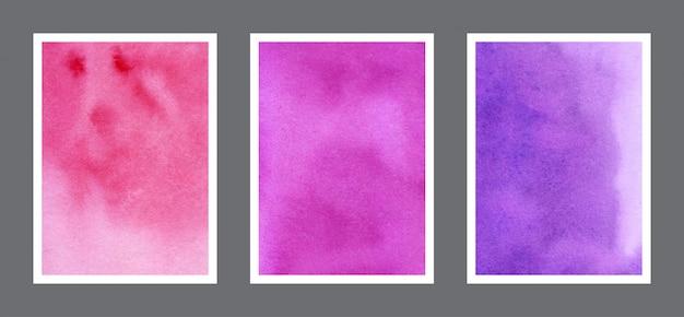 Vermelho, magenta e violeta aquarela pintados à mão coleção de fundo