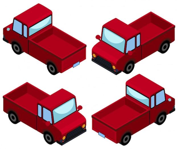 Vermelho pegar caminhões de quatro ângulos diferentes