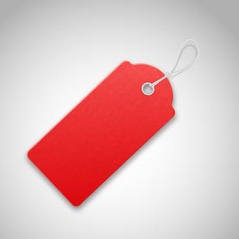 Vermelho realista texturizado vender tag com corda.