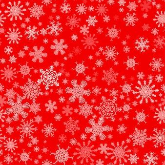Vermelho sem costura padrão de natal com flocos de neve diferentes