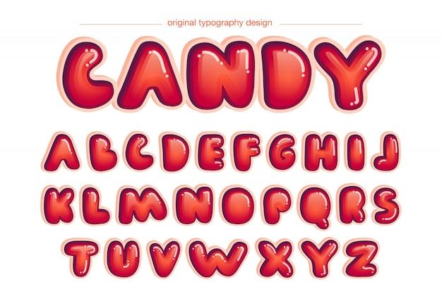 Vermelho vibrante arredondado design de tipografia em quadrinhos