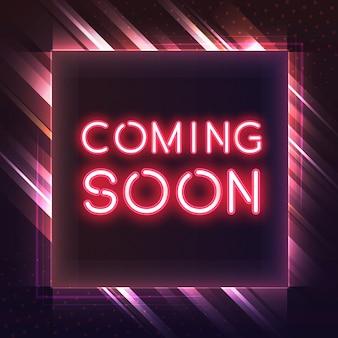Vermelho vindo em breve ícone de néon vector