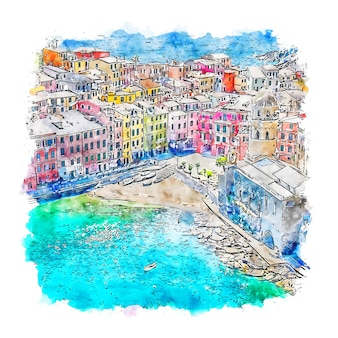 Vernazza itália esboço em aquarela.