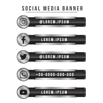 Versão de aço de coleção de banner de mídia social