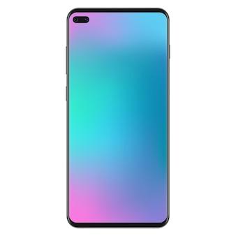 Versão de nova geração do smartphone preto fino e realista sem moldura com papel de parede de malha de gradiente suave.