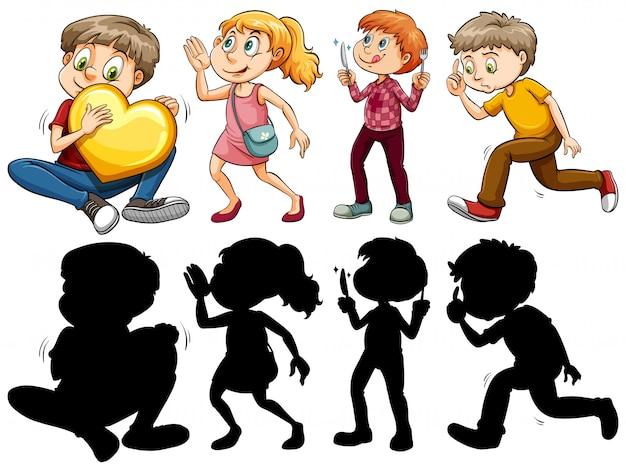 Versão silhueta, cor e contorno de crianças em ações divertidas