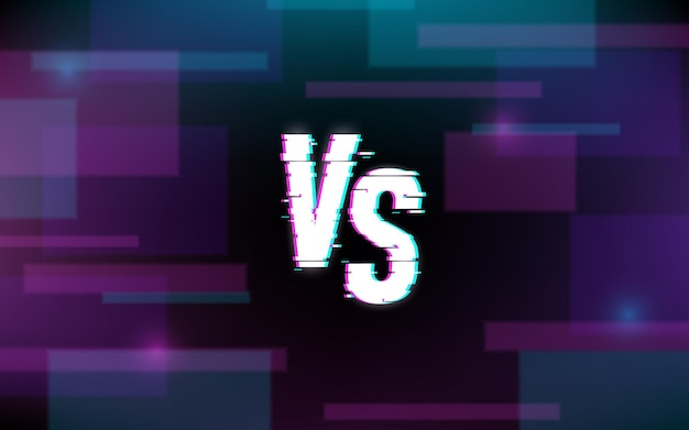 Versus banner glitch text background vector illustration