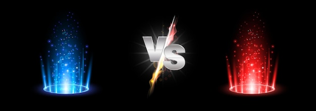Versus batalha de fogo com pódio de holograma, portal mágico.