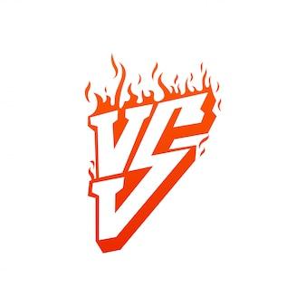Versus com quadros de fogo e vs letras. flaming vs para duelo e confronto