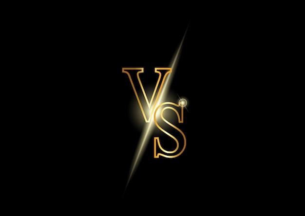 Versus letras de ouro de luxo. símbolo de concorrência brilhante.