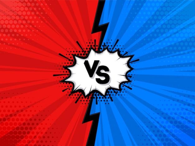 Versus ou vs design de carta em estilo cômico