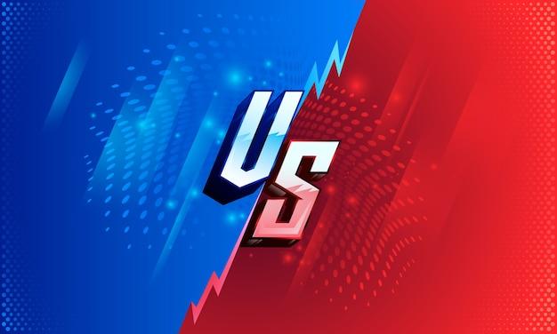 Versus tela contra fundo de luta para batalha, competição e jogo, vermelho vs azul