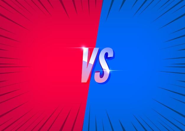 Versus tela vermelha e azul. lute contra os fundos uns contra os outros.