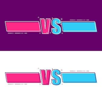 Versus tela. vs título de batalha, duelo de conflito entre equipes vermelhas e azuis