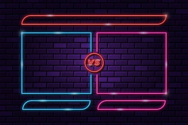 Versus vs background em estilo de luz neon