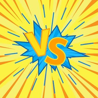 Versus vs comics, fundo explosivo de discurso bolha bomba