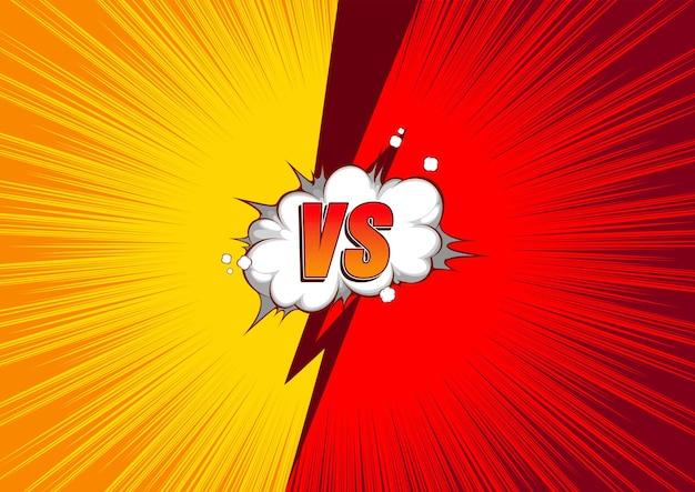 Versus vs fight comic background balões de fala.