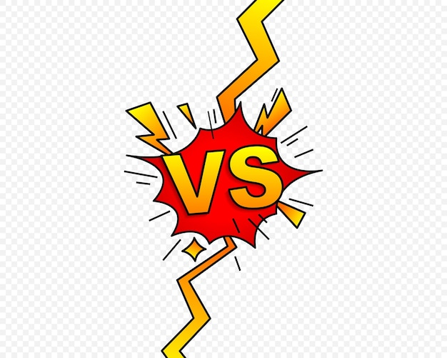 Versus vs letras lutam símbolo em design de estilo de quadrinhos simples. símbolo de confronto