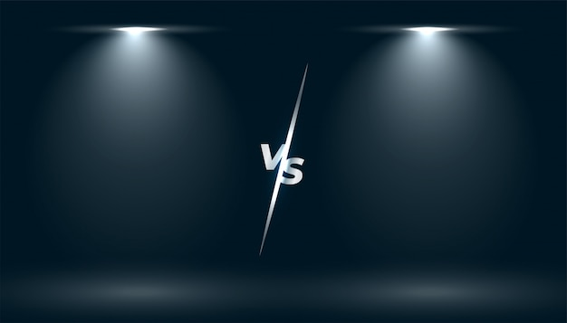 Versus vs tela com efeito de luz de dois focos