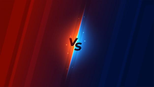 Versus vs tela de fundo em design de estilo brilhante