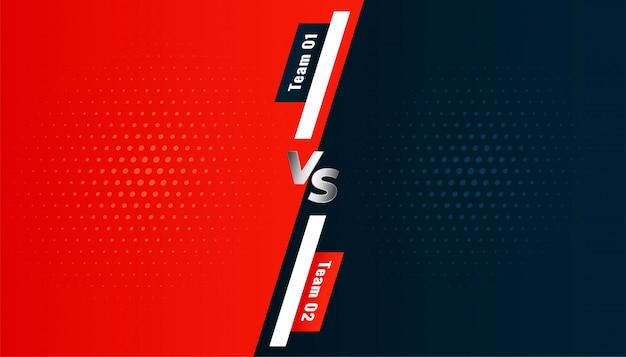 Versus vs tela de fundo entre duas equipes
