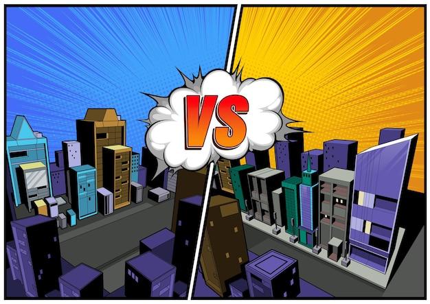Versus vs vector, letras lutam com o fundo da cidade em quadrinhos, balões de fala.