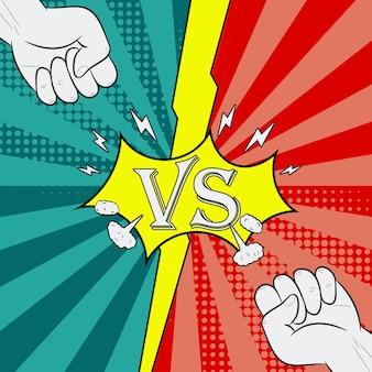 Versus with fist fighting background of comic style página de introdução da batalha de heróis