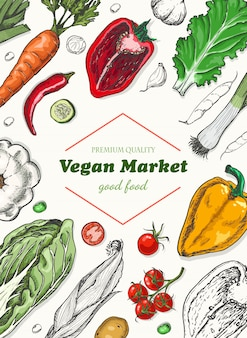 Vertical fundo com legumes